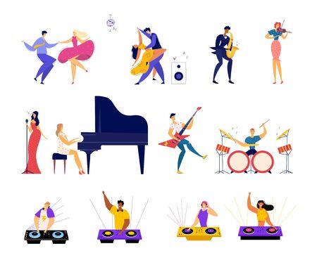 Set of Musical Hobbies and Entertainment. Happy Male and female Characters Dancing on Party, Classical and Rock Music Band Performing, Dj Mixing Beats in Bight Club Cartoon Flat Vector Illustration Ilustrace