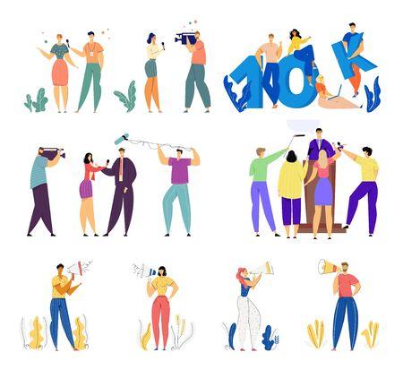 Set von Social Media-Berufen. Männliche und weibliche Charaktere Journalistenreportage und Interview mit berühmter Person, Ankündigung der Marketinggruppe, 10K Account Followers Cartoon Flat Vector Illustration