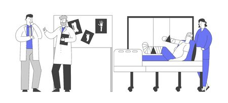 Doctors Concilium in Chamber with Patient Lying on Bed with Bounded Head, Broken Arm and Leg, Staff Discussing Limbs Xray Images Hanging on Board at Hospital. Cartoon Flat Vector Illustration Line Art