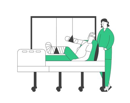 Doctor or Nurse Stand in Chamber with Patient Lying on Bed with Bounded Head, Broken Arm and Leg, Staff Medical Detour in Traumatology Department in Hospital. Cartoon Flat Vector Illustration Line Art
