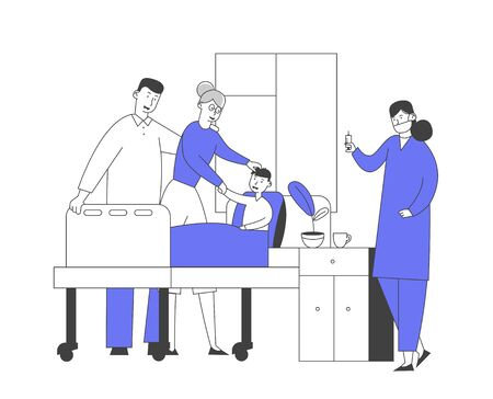 Doctor and Nurse in Chamber Visiting Little Patient. Medicine Health Care, Medical Staff Practitioner and Boy with Mother in Hospital Consultation Diagnosis Treatment Cartoon Flat Vector Illustration