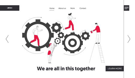 Time Concept Website Landing Page. Tiny Characters on Ladders with Repair Tools and Instruments Fixing Huge Mechanism Made of Gears and Cogwheels Web Page Banner. Cartoon Flat Vector Illustration