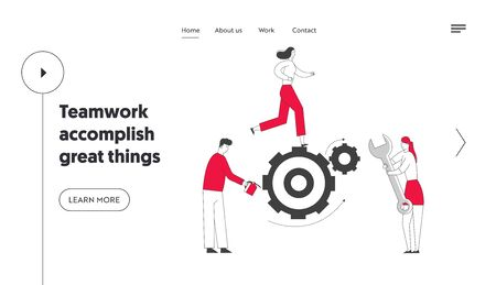 Alternative Thinking, Team Working Process Website Landing Page. Tiny Business People Generating Ideas Set in Motion Huge Cogwheels Gears Mechanism Web Page Banner. Cartoon Flat Vector Illustration