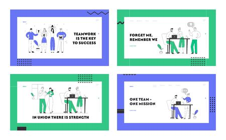 Teamwork and Brainstorm Website Landing Page Set. Businesspeople Team Project Development, Creative Process in Office. Business People Discussing Idea Web Page Banner. Cartoon Flat Vector Illustration