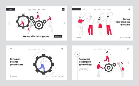 Time and Human Communication Concept Website Landing Page. Tiny Characters Fixing Huge Mechanism Made of Gears and Cogwheels, People Talking Chatting Web Page Banner. Cartoon Flat Vector Illustration