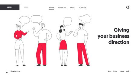 Young People Discussing and Make Decisions Website Landing Page. Man and Woman Company Chatting and Communicating with Speech Bubbles, Searching Ideas Web Page Banner. Cartoon Flat Vector Illustration