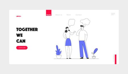 People Communicating Website Landing Page. Young Man and Woman Chatting and Communicate. Friends or Colleagues Talking Discussing and Make Decisions Web Page Banner. Cartoon Flat Vector Illustration