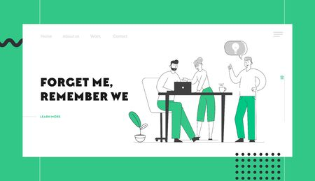 Team Project Development Website Landing Page. Creative Process in Office. Business People Discussing Idea with Light Bulb in Speech Bubble Teamworking Web Page Banner Cartoon Flat Vector Illustration Illustration