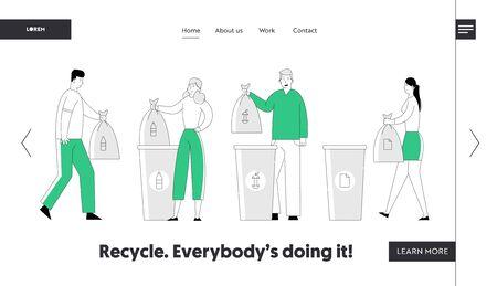 Recycling von Umweltverschmutzungsproblemen Website-Landingpage. Menschen werfen Müll in Recycling-Container und sammeln Müll. Ökologie-Schutz-Webseiten-Banner. Flache Vektorillustration der Karikatur