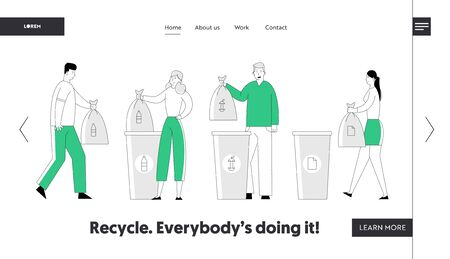 Recycle Environmental Pollution Problem Website Landing Page. People Throw Garbage into Recycling Containers, Collecting Trash. Ecology Protection Web Page Banner. Cartoon Flat Vector Illustration