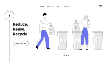 People Recycle Garbage Website Landing Page. Man and Woman Throw Trash into Recycling Containers and Bags. Ecology Protection Reduce Plastic Pollution Web Page Banner. Cartoon Flat Vector Illustration Vectores