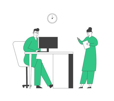 Doctor Learning Results of Patient Mri Brain Scan on Computer Monitor Screen, Nurse Stand nearby Writing Down Information in Hospital. Clinic Staff at Work Cartoon Flat Vector Illustration Line Art Ilustração