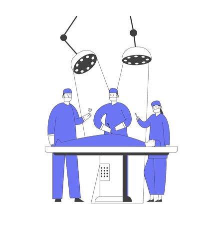 Surgeon Making Operation to Patient Lying on Bed at Surgery Room in Hospital. Nurses Staff Help Giving Medical Tools, Emergency Medical Treatment, Health Care Cartoon Flat Vector Illustration Line Art  イラスト・ベクター素材
