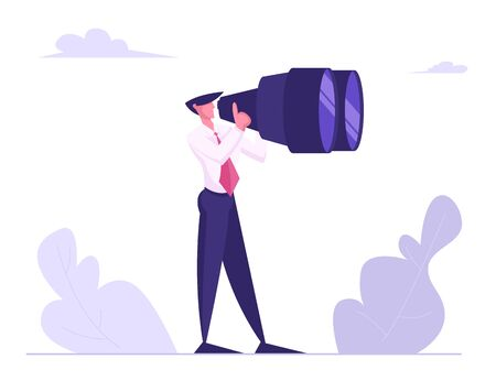 Businessman Watching to Huge Binoculars. Business Vision, Recruitment Employee. Male Business Character Visionary Forecast Prediction, Success Future Planning Strategy Cartoon Flat Vector Illustration