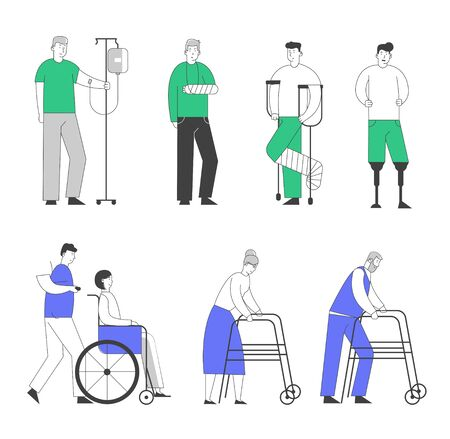 Disability Big Set of Old and Young Disabled People Male and Female Characters Using Wheelchair, Crutches. Man with Broken Leg and Feet Prosthesis, Cartoon Flat Vector Illustration, Line Art Style Иллюстрация