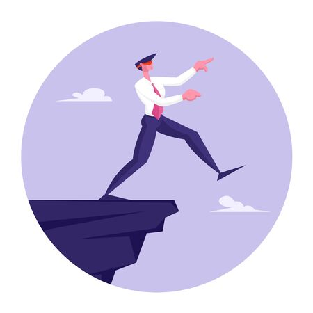 Blindfold Businessman Step into Abyss. Leap of Faith Concept with Business Man Walks Off the Cliff Searching Path
