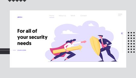 Manager Employee Characters Fighting Website Landing Page. Businesswoman in Super Hero Cloak Holding Arrow Attack Illustration