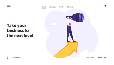 Business Vision Forecast Prediction Website Landing Page. Businessman Stand on Arrow Watching to Binoculars Searching for Successful Financial Ideas Web Page Banner. Cartoon Flat Vector Illustration