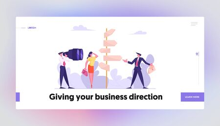 Choice Way Concept Website Landing Page. Confused Business People Stand at Road Directions Pointer Making Decision what Path to Choose. Crossroad Web Page Banner. Cartoon Flat Vector Illustration