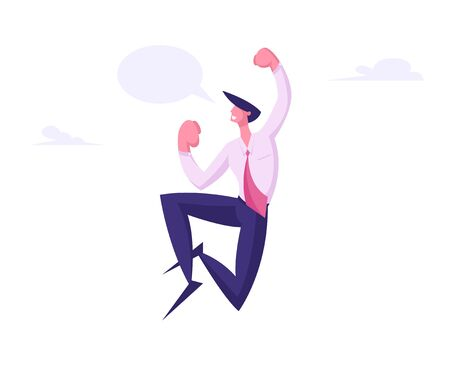 Winner Business Man Celebrating Victory or Successful Deal Jumping in Air with Yeah Gesturing and Empty Speech Bubble. Happy Manager Successful Worker with Arms Up. Cartoon Flat Vector Illustration