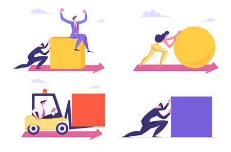 Male and Female Characters Fighting in Business Competition. Challenge Leadership Concept Business People Men and Woman Pushing Huge Geometric Shapes Circle and Square Cartoon Flat Vector Illustration