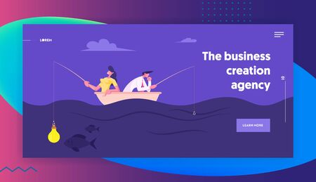 Businesspeople Catching Fish Sitting in Boat with Rods Website Landing Page. Business Woman Having Light Bulb instead of Bait on Hook, Man Have no Lure Web Page Banner Cartoon Flat Vector Illustration