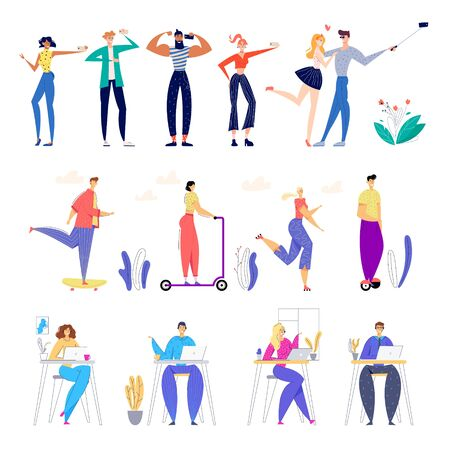 Set of Male and Female Characters Making Selfie and Posing on Photo Camera, Riding Electric Scooters and Hoverboards