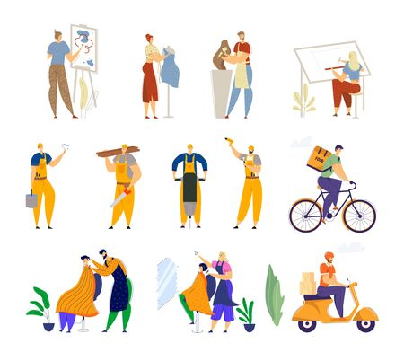 Set of Different Human Professions and Job Occupations. Painter Dress Designer Sculptor Architect, Road Repair Workers Stock Illustratie