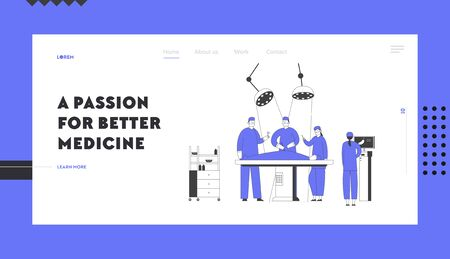 Surgery Room in Hospital Website Landing Page. Surgeon Making Operation to Patient Lying on Bed Nurse Control Process on Monitor with Stomach Image Web Page Banner. Cartoon Flat Vector Illustration