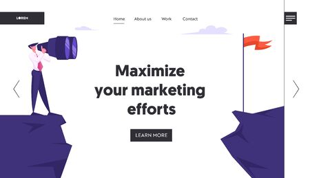Searching for Ideas, Business Goal Website Landing Page. Businessman Stand on Mountain Top Watching to Binoculars Stock Illustratie