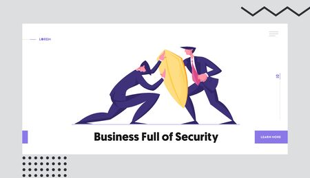 Business Protection, Onslaught and Confrontation Website Landing Page. Businessman Trying to Overcome Resistance