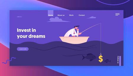 Successful Finance Growth Strategy Website Landing Page. Business Man Fishing with Dollar Sign like Bait. Manager or Office Employee Earning Money Web Page Banner. Cartoon Flat Vector Illustration