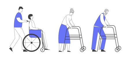 Disability Concept. Man Pushing Young Disabled Girl Sitting in Wheelchair. Senior Man and Woman Moving with Help