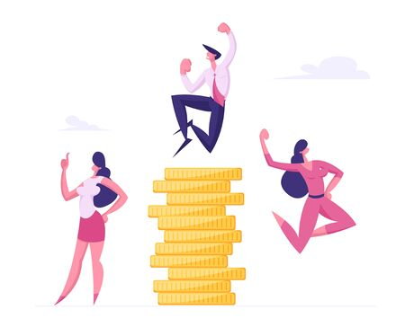 Successful Business People Rejoice and Crying Yeah at Huge Stack of Gold Coins. Financial Profit Salary Money Wealth
