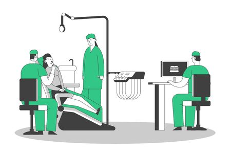 Patient at Dentist Office, Young Woman Sitting in Medical Chair at Stomatology Cabinet, Doctor Watching X-ray of Bad Tooth on Pc. Girl Visit Clinic for Teeth Treatment Cartoon Flat Vector Illustration