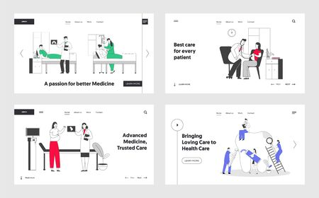 Patients in Hospital Chamber, Pregnant Woman in Clinic at Doctors Appointment, Stomatology Hygiene and Treatment Procedures Website Landing Page Set. Web Page Banner. Cartoon Flat Vector Illustration