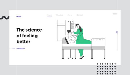 Patient Recovery Process Website Landing Page. Nurse Set Up Dropper to Young Woman Lying in Bed in Hospital Chamber. Medicine and Health Care Concept Web Page Banner. Cartoon Flat Vector Illustration