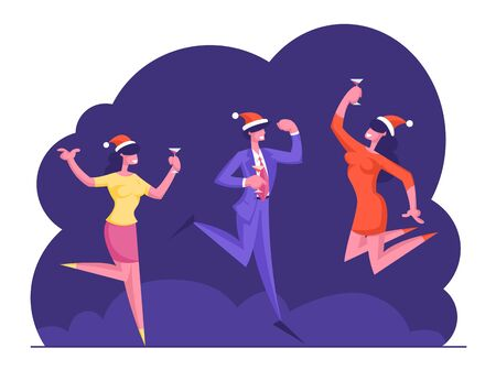 Happy Business Colleagues Managers Team in Santa Hats Celebrating Christmas Party Holiday in Office. People Hold Cocktail Glasses Dancing and Jumping with Hands Up. Cartoon Flat Vector Illustration