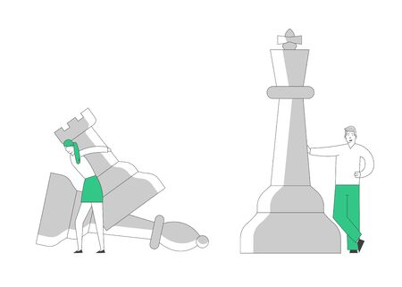 Business Man and Woman Self Confident Opponents Playing Strategic Game Chess Moving Huge Pieces on Board. Thinking Planning Tactics and Strategic Concept Cartoon Flat Vector Illustration, Line Art