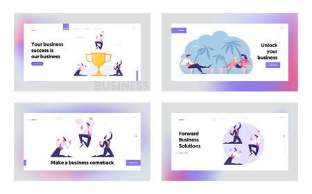 Goal Achievement Success, Freelance and Remote Work Website Landing Page Set. Businesspeople Working on Exotic Beach. Rejoice for Happy Deal Cry Yeah Web Page Banner. Cartoon Flat Vector Illustration