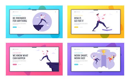 Business Risk, Bankruptcy and Goal Achievement Website Landing Page Set. Businessman Problem Ignorance Step on Trap and Cliff Edge. Pole Vaulting Cup Web Page Banner. Cartoon Flat Vector Illustration