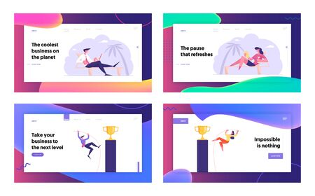 Freelancer on Summer Vacation, Goal Achievement Website Landing Page Set. Business People Working on Laptop Sitting on Seaside. Pole Vaulting for Cup Web Page Banner. Cartoon Flat Vector Illustration 일러스트