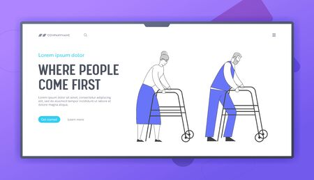 Old Age and Disability Website Landing Page. Senior Man and Woman Moving with Help of Front-wheeled Walker or Walking Frame. Disable People Concept Web Page Banner. Cartoon Flat Vector Illustration