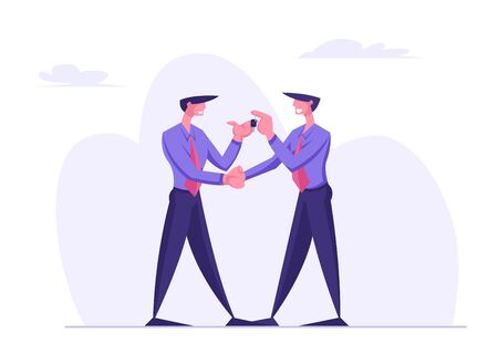Business Man Character Giving Keys to another Businessman Wearing Formal Suit. Car Sharing or Purchasing New Automobile Concept, Dealer Agent and Customer Deal. Cartoon Flat Vector Illustration