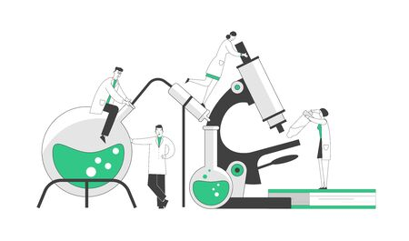 Chemistry, Pharmaceutical Concept. Miniature People Scientists in Chemical Laboratory with Huge Equipment Microscope, Books and Flasks. Science Research. Cartoon Flat Vector Illustration, Line Art Stock Illustratie