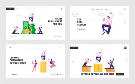 Success Leadership, Money Wealth Website Landing Page Set. Successful Business People Rejoice and Crying Yeah at Huge Stack of Gold Coins and Pedestal Web Page Banner. Cartoon Flat Vector Illustration Çizim