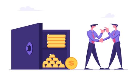Businessman Bank Employee Giving Key from Safe to Business Man. Deposit Box Concept with People Collecting Money Savings. Fund Investment with Characters and Earnings Cartoon Flat Vector Illustration