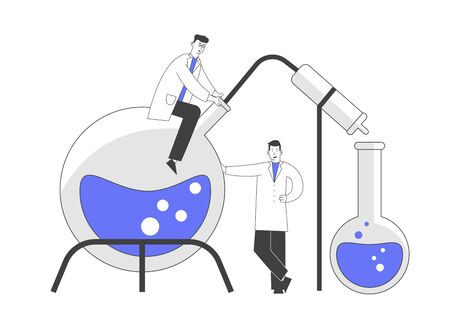 Couple of Men Scientists Wearing White Coats Conducting Experiments in Science Laboratory. Male Characters Researchers in Chemical Lab Scientific Research. Cartoon Flat Vector Illustration, Line Art