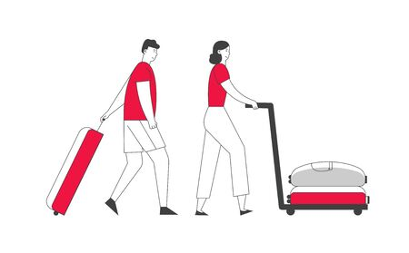 Tourists Traveling. Woman Pushing Trolley with Bag, Man Pulling Luggage. Travel People in Casual Wear with Baggage Hurry, Late for Plane or Registration Cartoon Flat Vector Illustration, Line Art