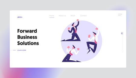 Successful Worker Rejoice Website Landing Page. Winner Business Man Celebrating Victory or Successful Deal Cry Yeah. Happy Manager Gesturing on Knees Web Page Banner. Cartoon Flat Vector Illustration Illusztráció